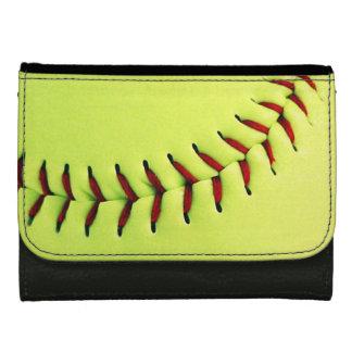 Yellow softball ball wallets for women