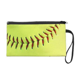 Yellow softball ball wristlet purses
