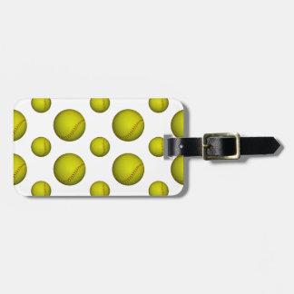 Yellow Softball / Baseball Pattern Bag Tag