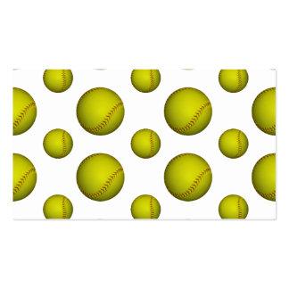 Yellow Softball Baseball Pattern Business Card Template