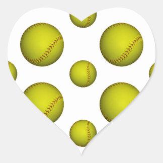 Yellow Softball / Baseball Pattern Heart Sticker