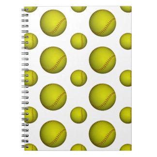 Yellow Softball / Baseball Pattern Notebooks