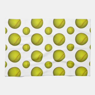 Yellow Softball / Baseball Pattern Tea Towel