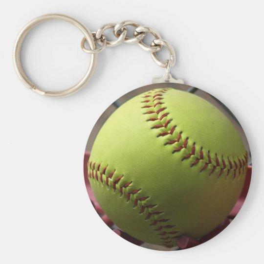 Yellow Softball Basic Round Button Key Ring