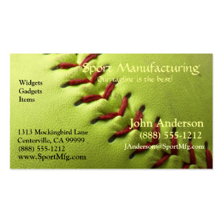 Yellow Softball Blank Back Pack Of Standard Business Cards