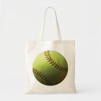 Yellow Softball Budget Tote Bag