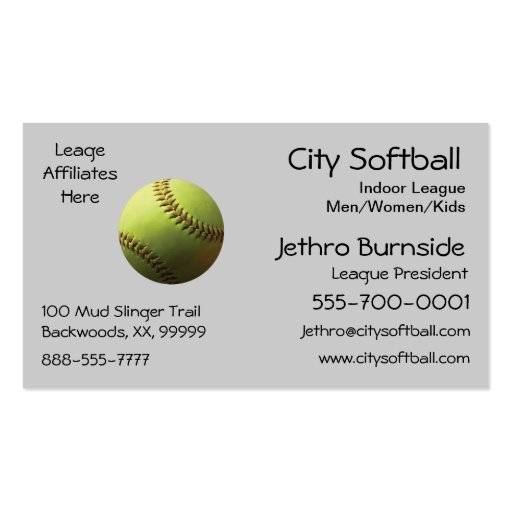Yellow Softball Business Card Template
