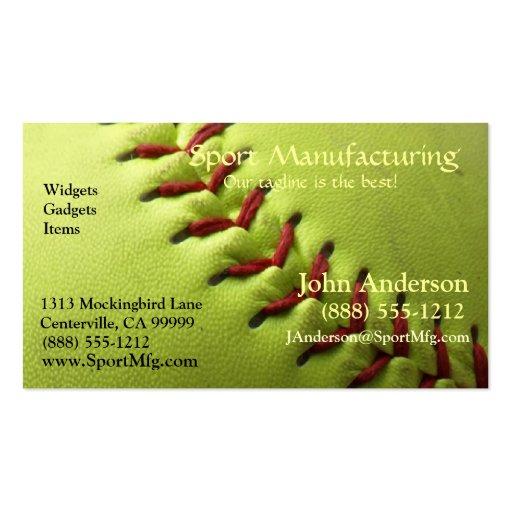 Yellow Softball Business Card