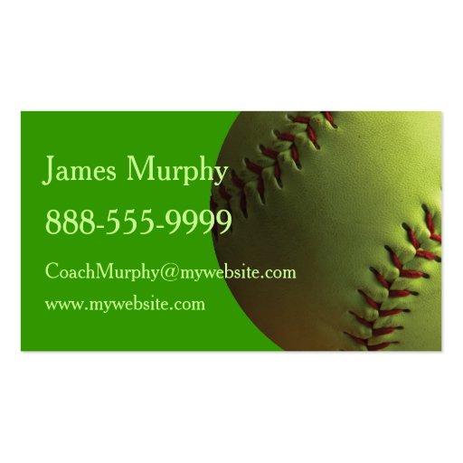Yellow Softball Business Card Templates