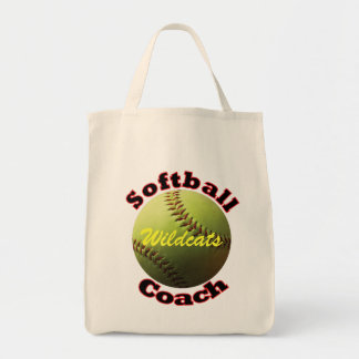 Yellow Softball Coach Canvas Bags