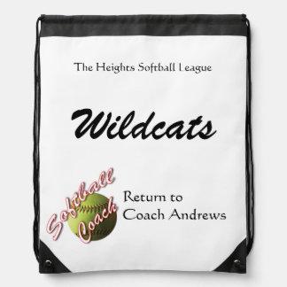 Yellow Softball Coach Papers Drawstring Backpacks