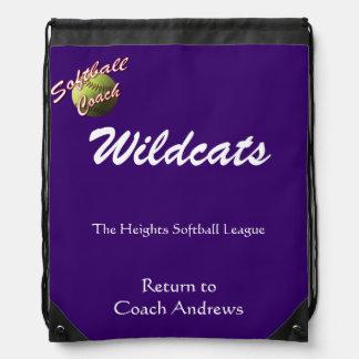 Yellow Softball Coach Paperwork Return Drawstring Backpacks