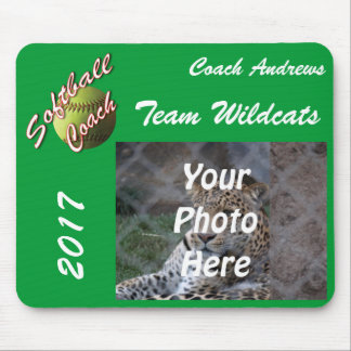 Yellow Softball Coach Script with Team Pic Text Mouse Mat