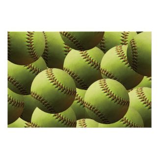 Yellow Softball Fastpitch Multiball Poster