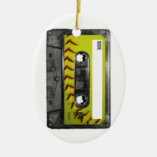 Yellow Softball Label Cassette Christmas Ornament
