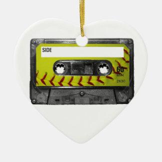 Yellow Softball Label Cassette Ornaments
