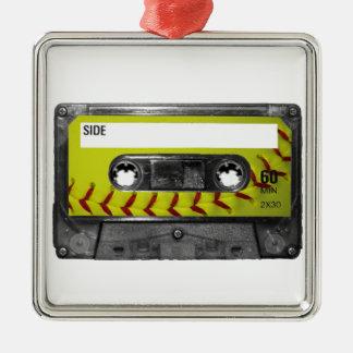 Yellow Softball Label Cassette Silver-Colored Square Decoration