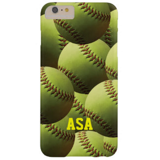 Yellow Softball Multi with Name or Initials Barely There iPhone 6 Plus Case
