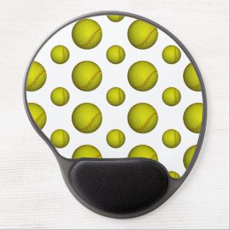 Yellow Softball Pattern Gel Mousepads