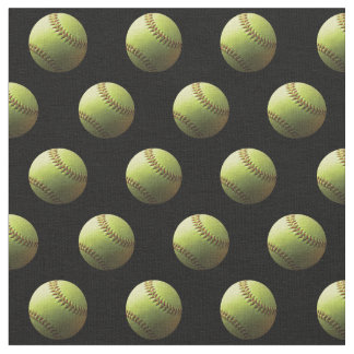 Yellow Softball Sport Ball Fabric
