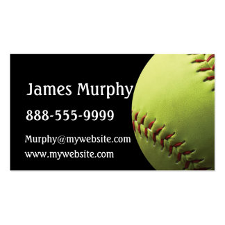 Yellow Softball Sport Pack Of Standard Business Cards