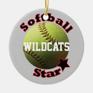 Yellow Softball Star Team Christmas Ornament