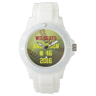 Yellow Softball Team Name Number and Year Wrist Watch