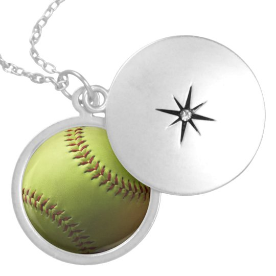 Yellow Softball Theme Silver Plated Necklace
