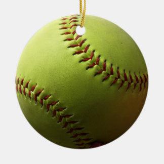 Yellow Softball Whole Ball Christmas Ornament