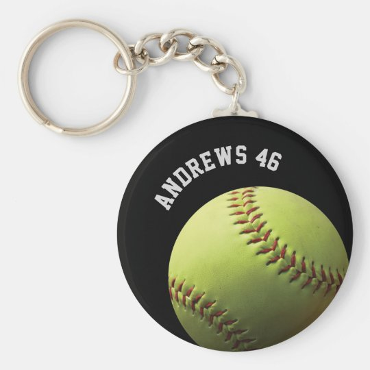 Yellow Softball with Name or Text Basic Round Button Key Ring