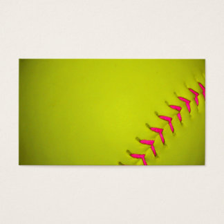 Yellow Softball With Pink Stitches Business Card