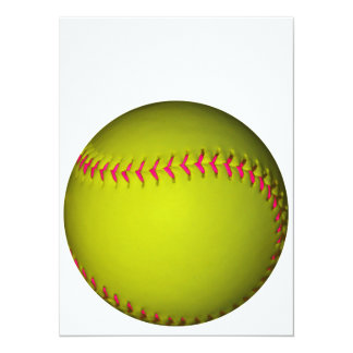 Yellow Softball With Pink Stitches Card