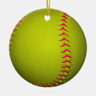 Yellow Softball With Pink Stitches Christmas Ornament