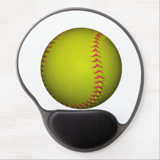 Yellow Softball With Pink Stitches Gel Mouse Pad
