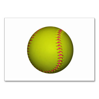 Yellow Softball With Pink Stitches Table Card
