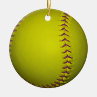 Yellow Softball With Purple Stitches Christmas Ornament