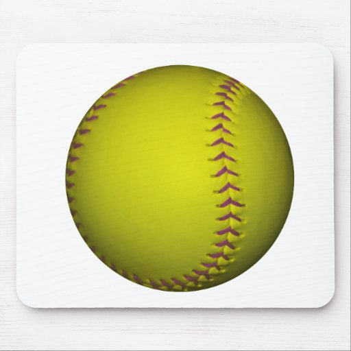 Yellow Softball With Purple Stitches Mouse Pads