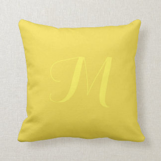 Yellow Solid Color Monogram Personalize Pillow