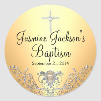 Yellow Sparkle Jewel Baptism Sticker