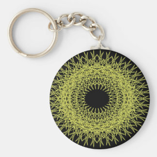 Yellow spikey spirograph basic round button key ring
