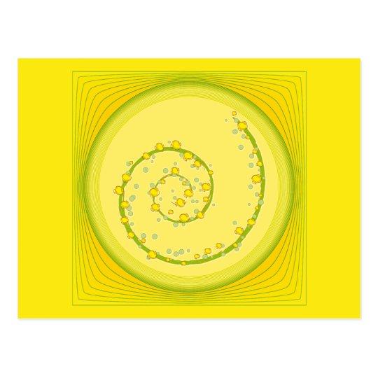 Yellow Spiral Design Postcard