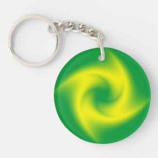 Yellow Spiral on Green Key Ring