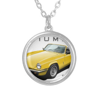 spitfire necklace. yellow spitfire silver plated necklace