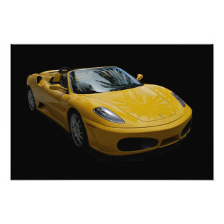 Yellow Sports Car Art Photo