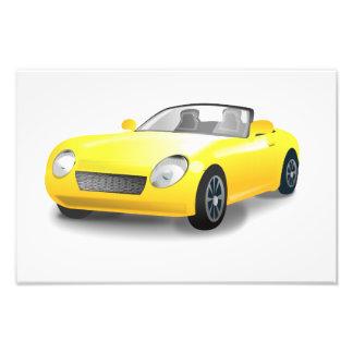 Yellow sports car cartoon photo