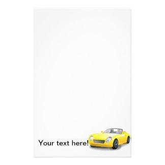 Yellow sports car cartoon personalized stationery