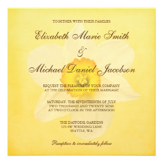 Yellow Spring Daffodil Flower Wedding Personalized Invitations