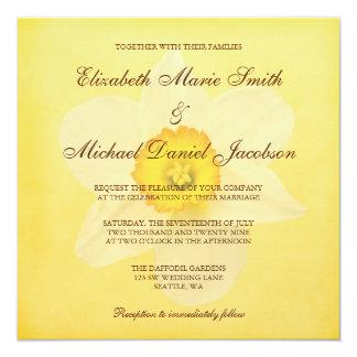 "Yellow Spring Daffodil Flower Wedding 5.25"" Square Invitation Card"
