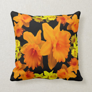 YELLOW SPRING DAFFODILS & CHARCOAL GREY COLOR ART CUSHION