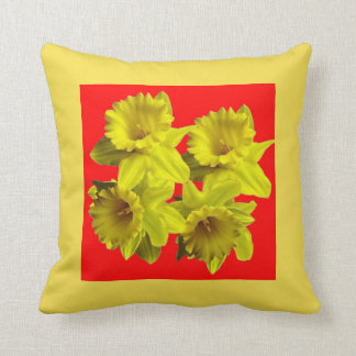 YELLOW SPRING DAFFODILS &  CHINESE RED ART CUSHION